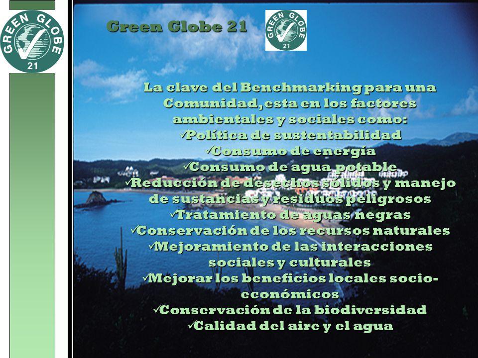 Green Globe 21 La clave del Benchmarking para una Comunidad, esta en los factores ambientales y sociales como: