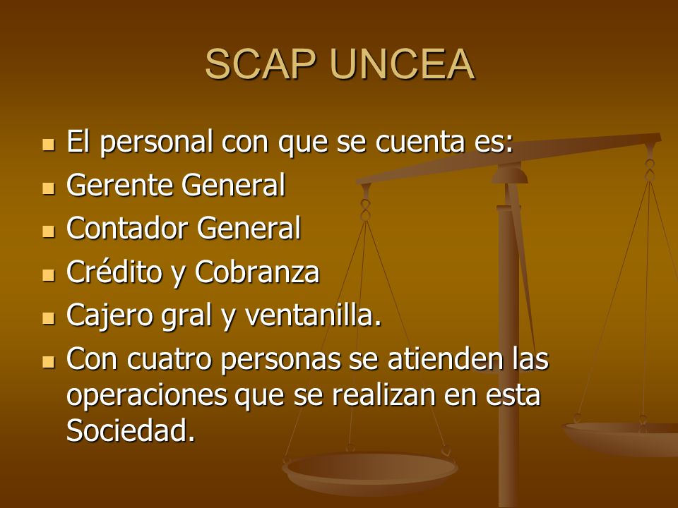 SCAP UNCEA El personal con que se cuenta es: Gerente General