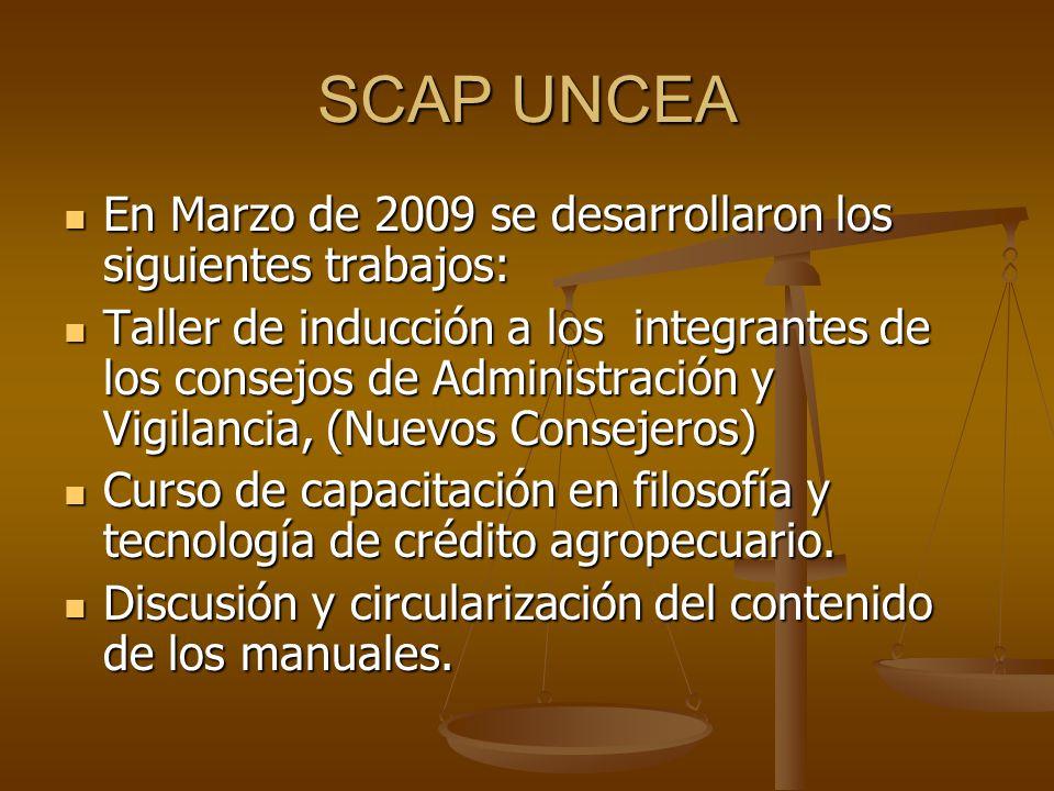 SCAP UNCEA En Marzo de 2009 se desarrollaron los siguientes trabajos: