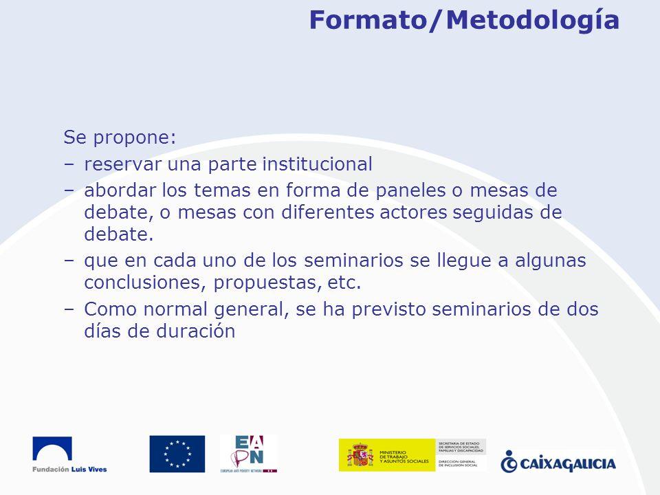 Formato/Metodología Se propone: reservar una parte institucional