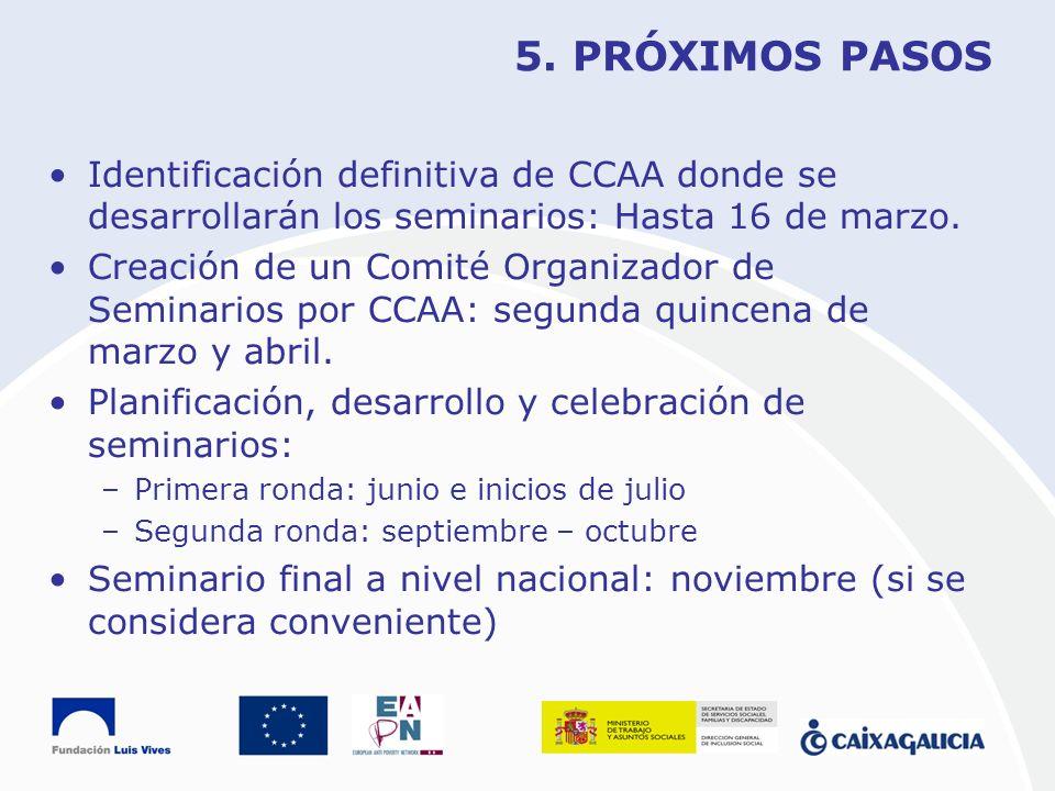 5. PRÓXIMOS PASOS Identificación definitiva de CCAA donde se desarrollarán los seminarios: Hasta 16 de marzo.