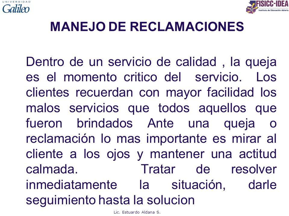 MANEJO DE RECLAMACIONES