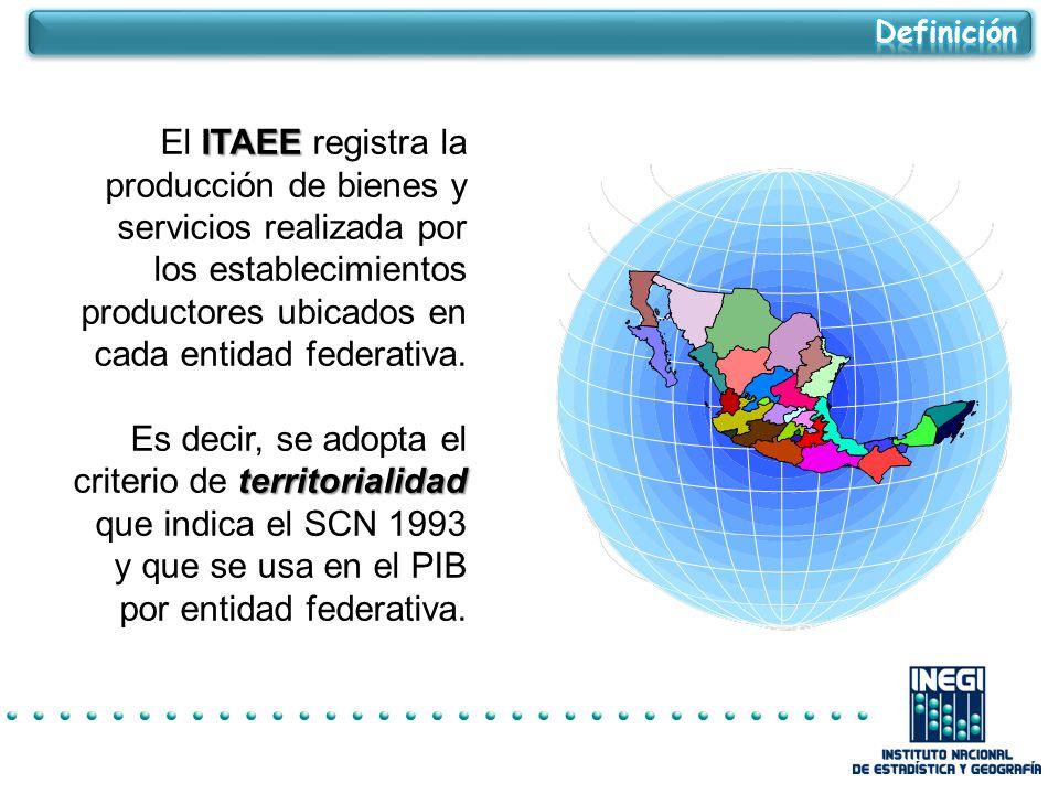 Definición El ITAEE registra la producción de bienes y servicios realizada por los establecimientos productores ubicados en cada entidad federativa.