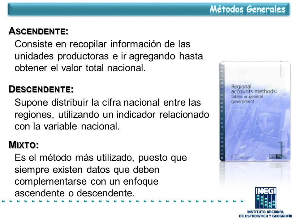 Métodos Generales Ascendente: Consiste en recopilar información de las unidades productoras e ir agregando hasta obtener el valor total nacional.