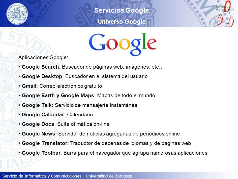 Servicios Google Universo Google Aplicaciones Google: