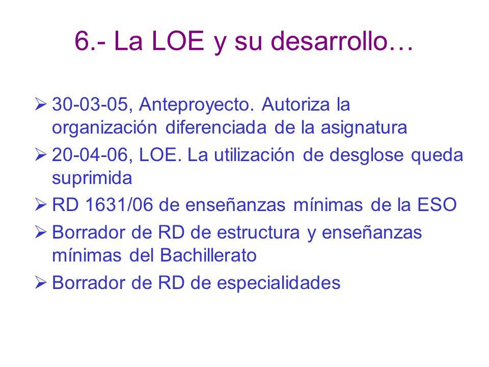 6.- La LOE y su desarrollo…