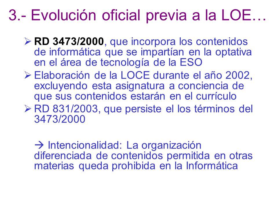 3.- Evolución oficial previa a la LOE…