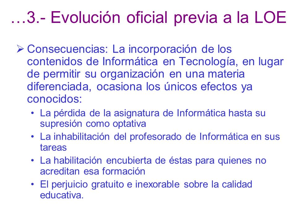 …3.- Evolución oficial previa a la LOE