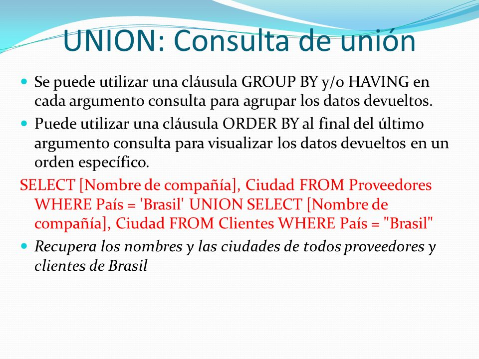 UNION: Consulta de unión