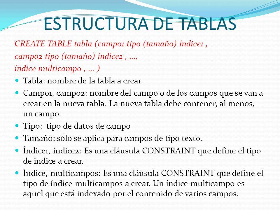 ESTRUCTURA DE TABLASCREATE TABLE tabla (campo1 tipo (tamaño) índice1 , campo2 tipo (tamaño) índice2 , ...,