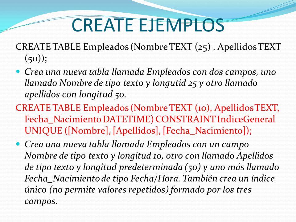 CREATE EJEMPLOSCREATE TABLE Empleados (Nombre TEXT (25) , Apellidos TEXT (50));