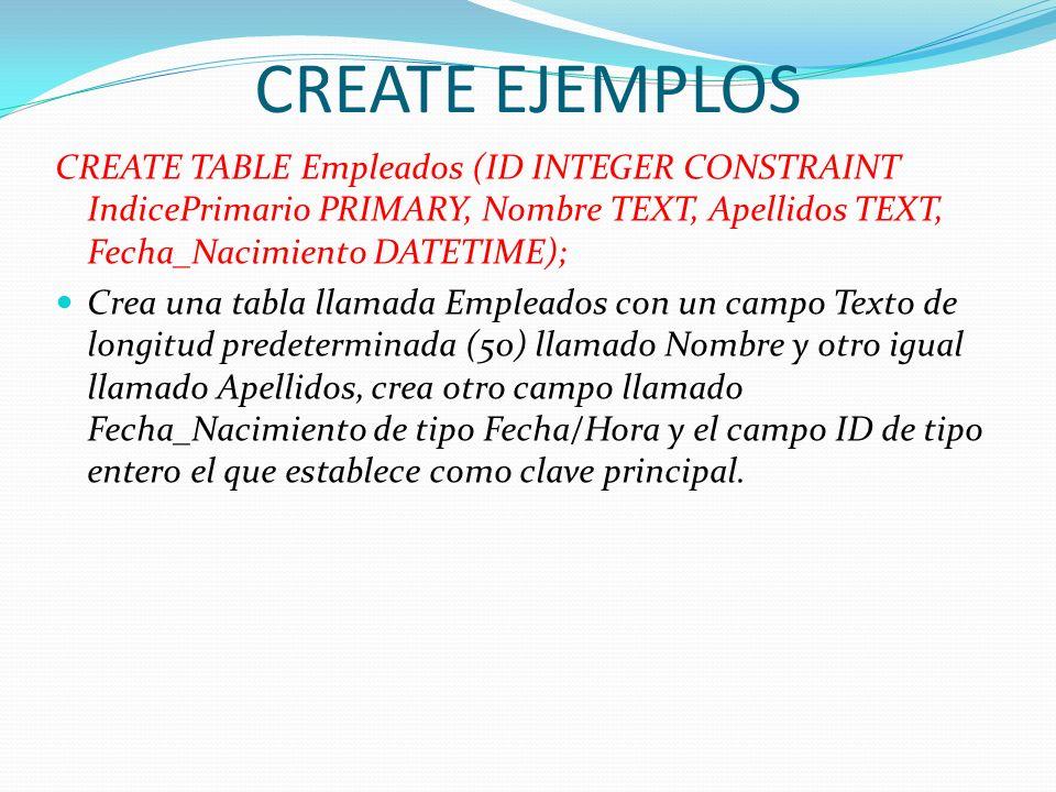 CREATE EJEMPLOSCREATE TABLE Empleados (ID INTEGER CONSTRAINT IndicePrimario PRIMARY, Nombre TEXT, Apellidos TEXT, Fecha_Nacimiento DATETIME);