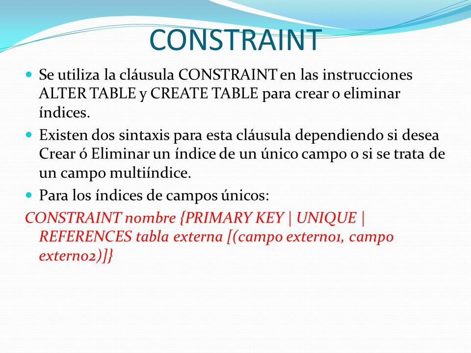 CONSTRAINTSe utiliza la cláusula CONSTRAINT en las instrucciones ALTER TABLE y CREATE TABLE para crear o eliminar índices.