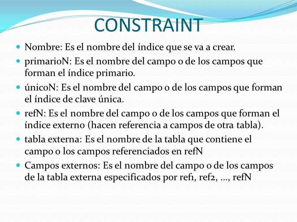CONSTRAINT Nombre: Es el nombre del índice que se va a crear.