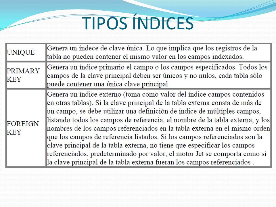 TIPOS ÍNDICES