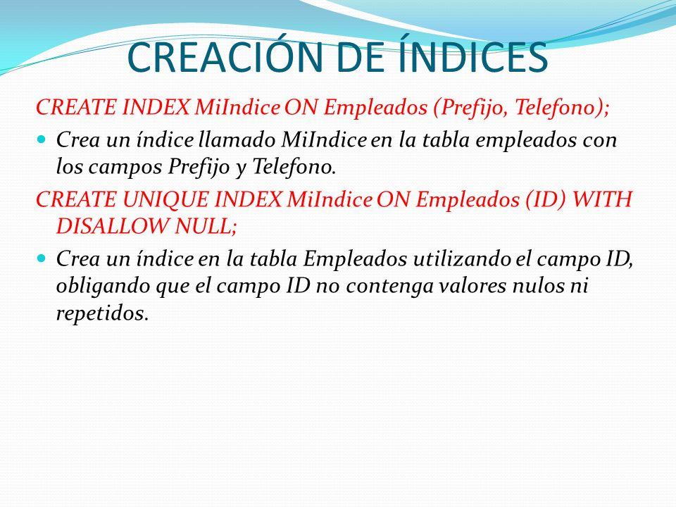 CREACIÓN DE ÍNDICESCREATE INDEX MiIndice ON Empleados (Prefijo, Telefono);
