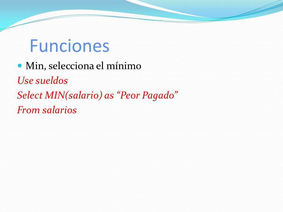Funciones Min, selecciona el mínimo Use sueldos