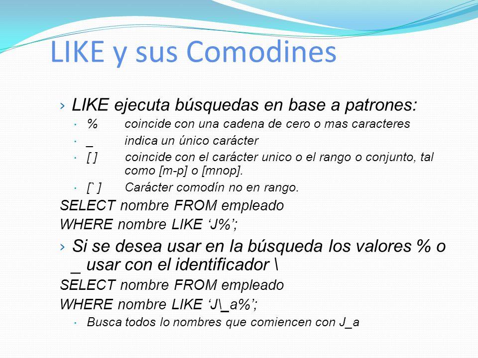 LIKE y sus Comodines LIKE ejecuta búsquedas en base a patrones: