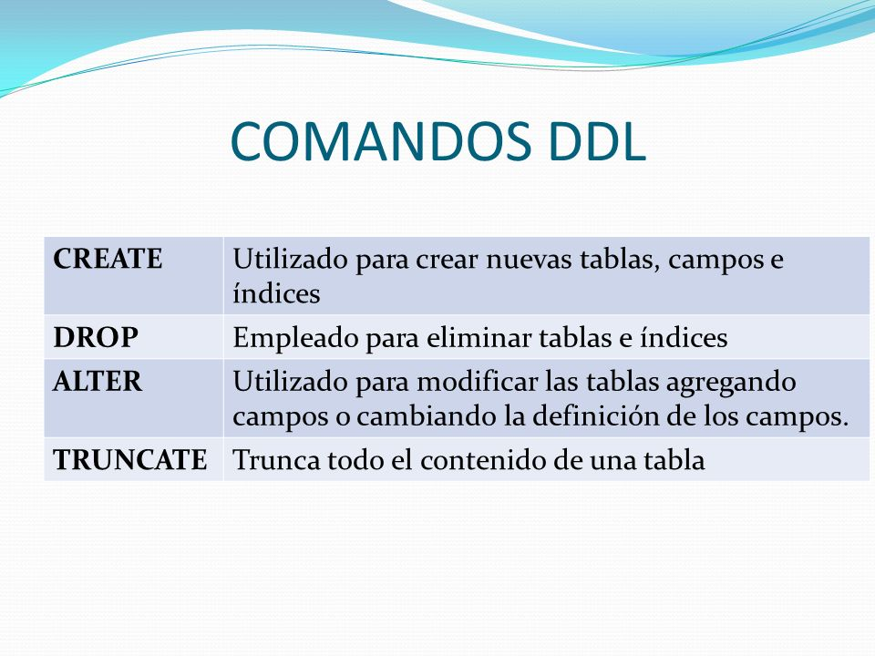 COMANDOS DDLCREATE. Utilizado para crear nuevas tablas, campos e índices. DROP. Empleado para eliminar tablas e índices.