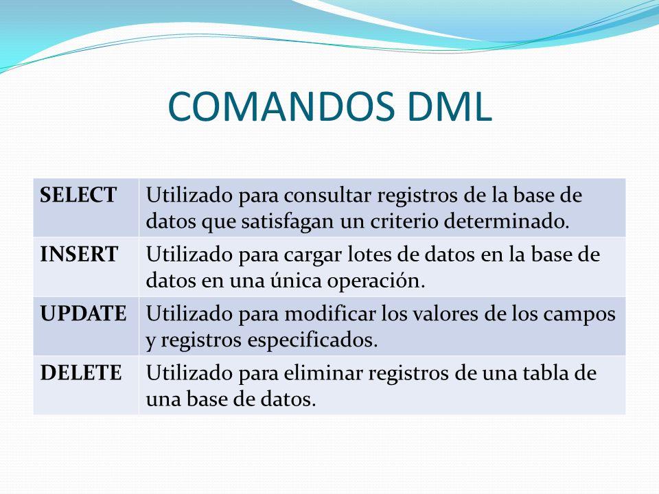 COMANDOS DMLSELECT. Utilizado para consultar registros de la base de datos que satisfagan un criterio determinado.