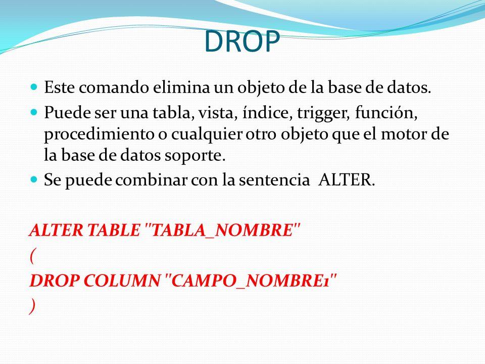 DROP Este comando elimina un objeto de la base de datos.