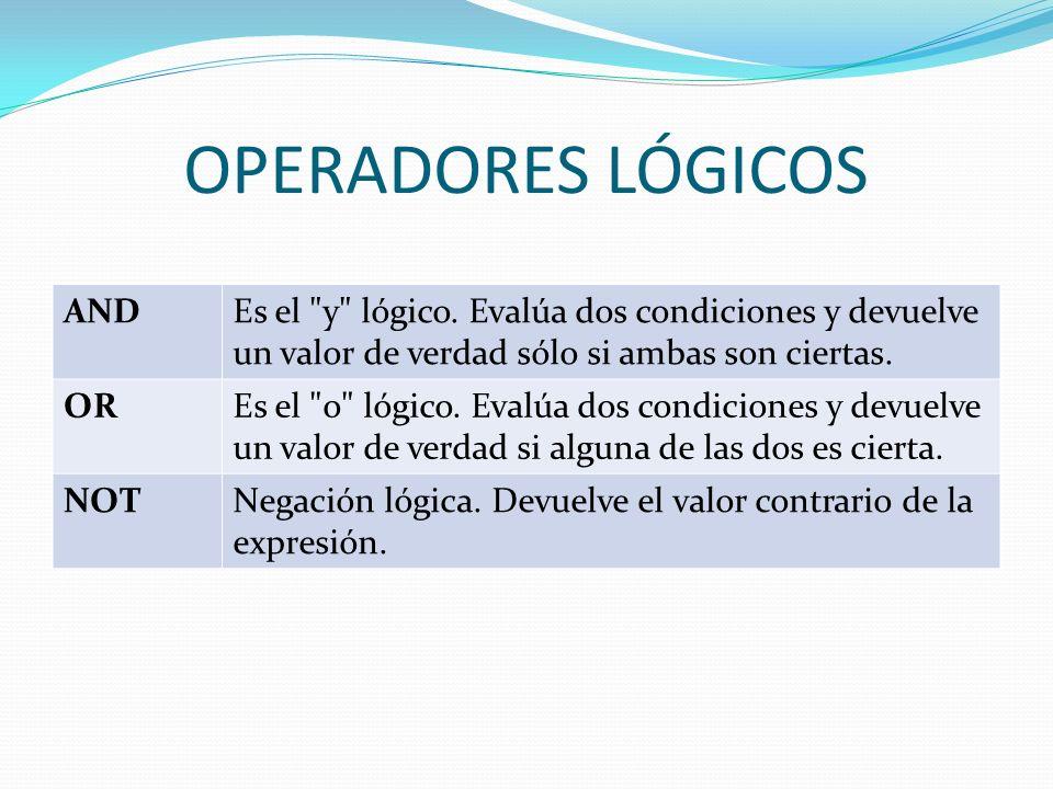 OPERADORES LÓGICOS AND