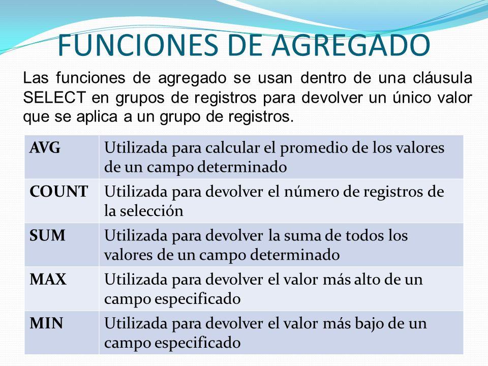 FUNCIONES DE AGREGADO