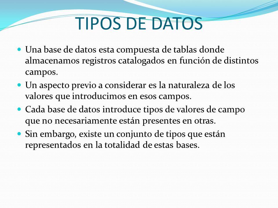 TIPOS DE DATOSUna base de datos esta compuesta de tablas donde almacenamos registros catalogados en función de distintos campos.