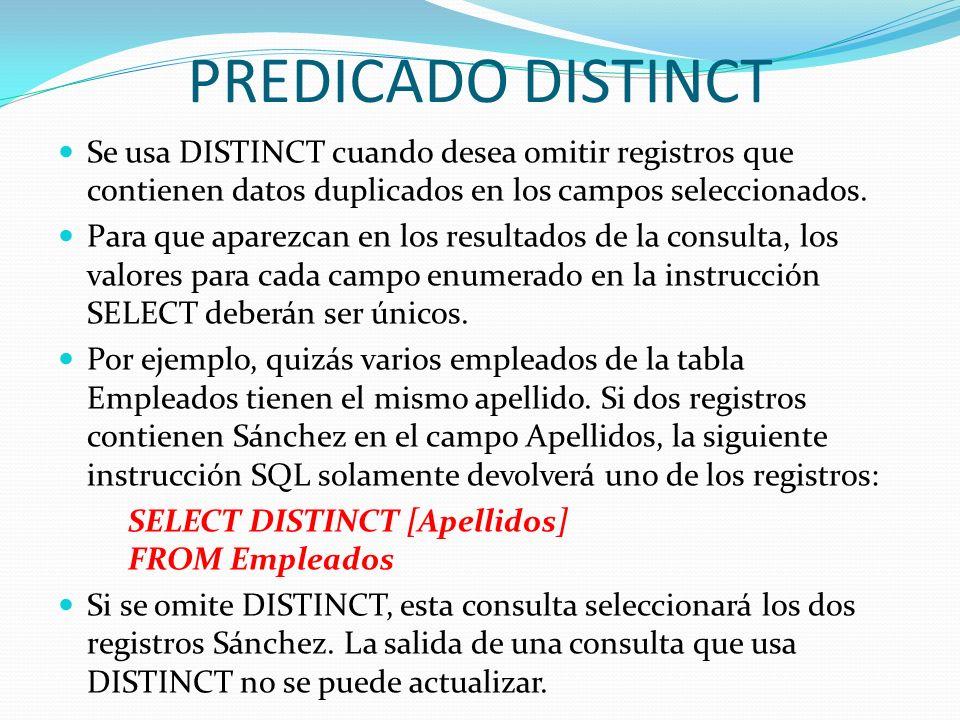 PREDICADO DISTINCTSe usa DISTINCT cuando desea omitir registros que contienen datos duplicados en los campos seleccionados.