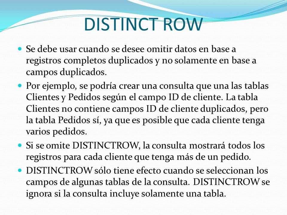 DISTINCT ROWSe debe usar cuando se desee omitir datos en base a registros completos duplicados y no solamente en base a campos duplicados.
