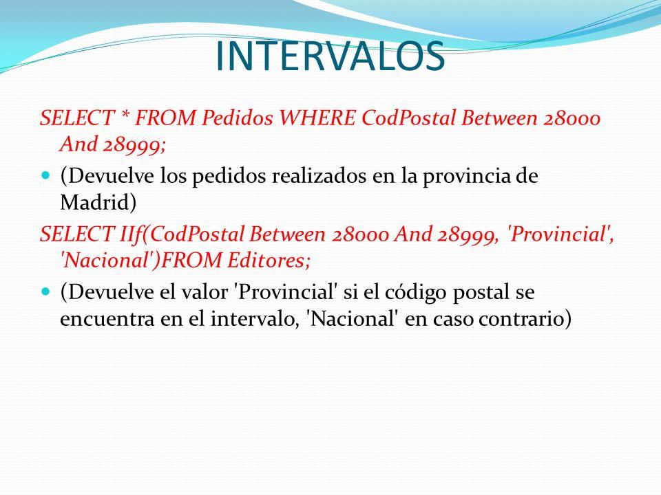 INTERVALOSSELECT * FROM Pedidos WHERE CodPostal Between 28000 And 28999; (Devuelve los pedidos realizados en la provincia de Madrid)