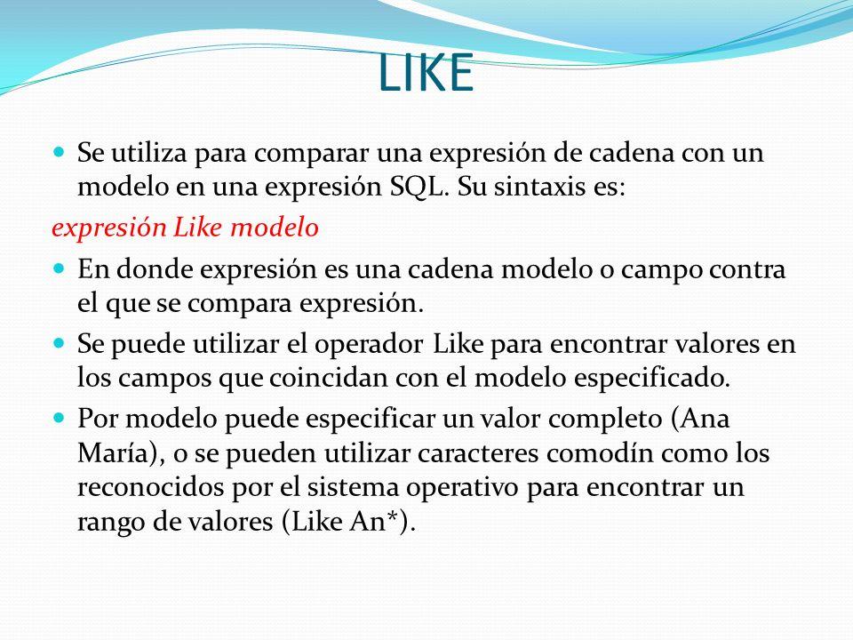LIKESe utiliza para comparar una expresión de cadena con un modelo en una expresión SQL. Su sintaxis es: