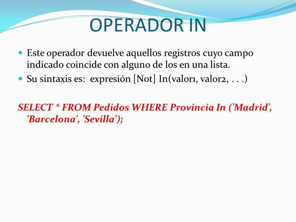 OPERADOR INEste operador devuelve aquellos registros cuyo campo indicado coincide con alguno de los en una lista.