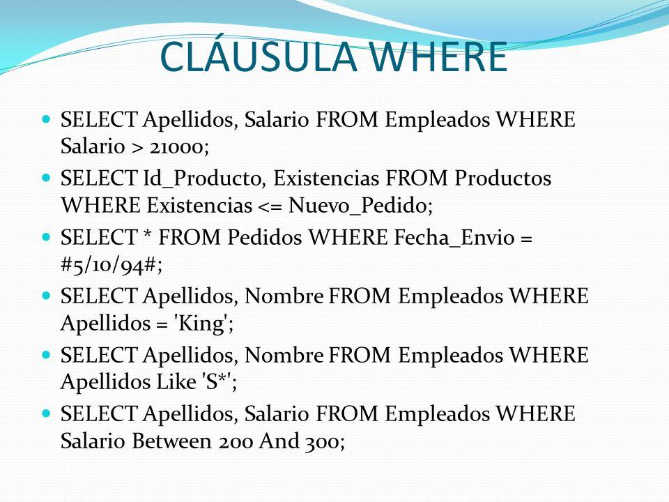CLÁUSULA WHERESELECT Apellidos, Salario FROM Empleados WHERE Salario > 21000;