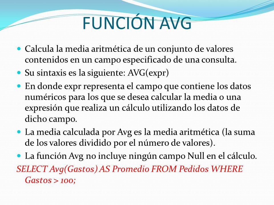 FUNCIÓN AVGCalcula la media aritmética de un conjunto de valores contenidos en un campo especificado de una consulta.