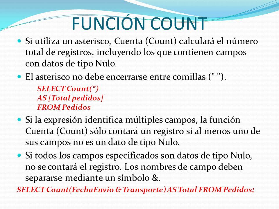 FUNCIÓN COUNT