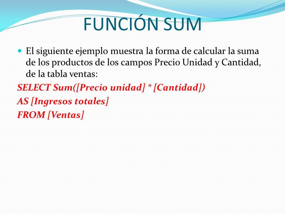 FUNCIÓN SUMEl siguiente ejemplo muestra la forma de calcular la suma de los productos de los campos Precio Unidad y Cantidad, de la tabla ventas: