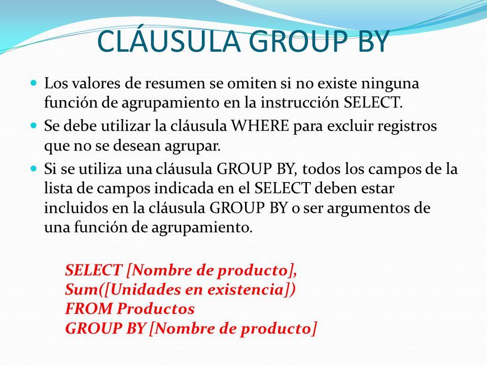 CLÁUSULA GROUP BYLos valores de resumen se omiten si no existe ninguna función de agrupamiento en la instrucción SELECT.
