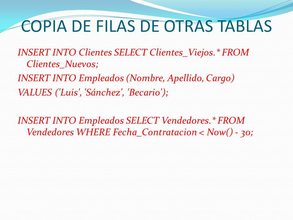 COPIA DE FILAS DE OTRAS TABLAS