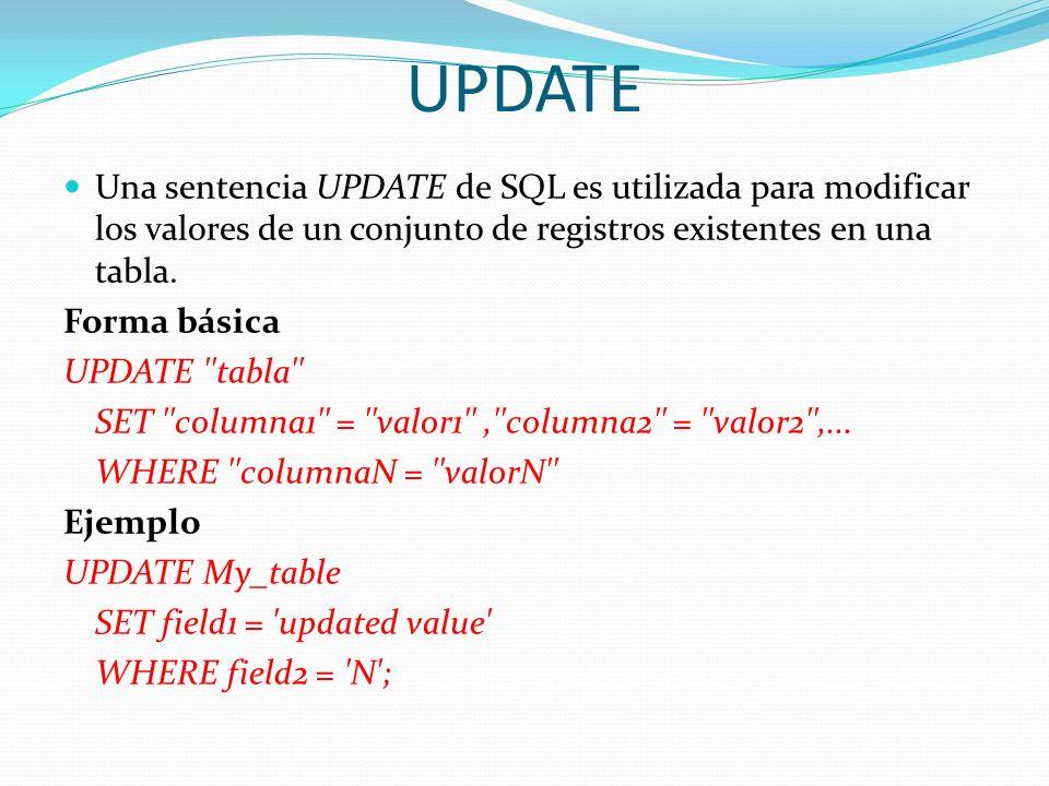UPDATEUna sentencia UPDATE de SQL es utilizada para modificar los valores de un conjunto de registros existentes en una tabla.