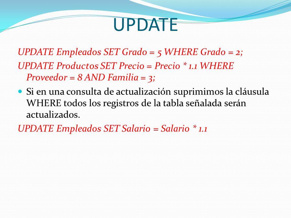 UPDATE UPDATE Empleados SET Grado = 5 WHERE Grado = 2;