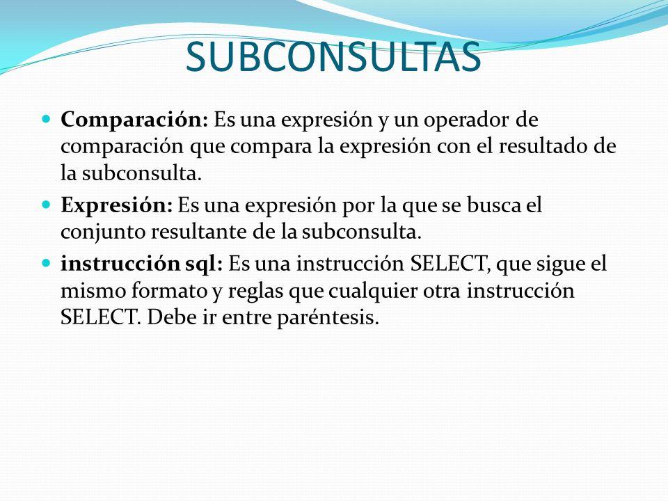 SUBCONSULTASComparación: Es una expresión y un operador de comparación que compara la expresión con el resultado de la subconsulta.