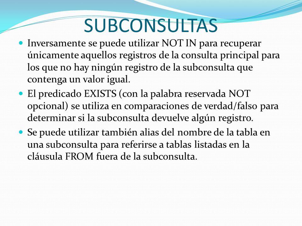 SUBCONSULTAS