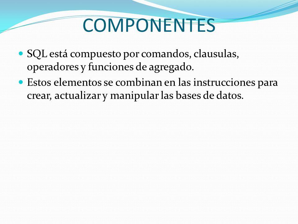 COMPONENTESSQL está compuesto por comandos, clausulas, operadores y funciones de agregado.