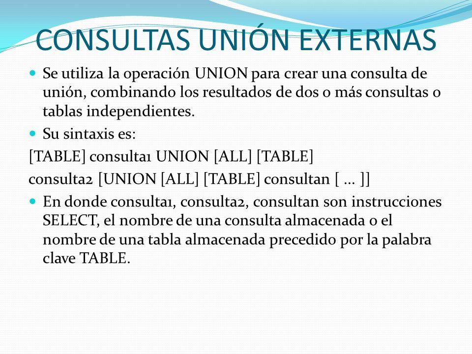 CONSULTAS UNIÓN EXTERNAS