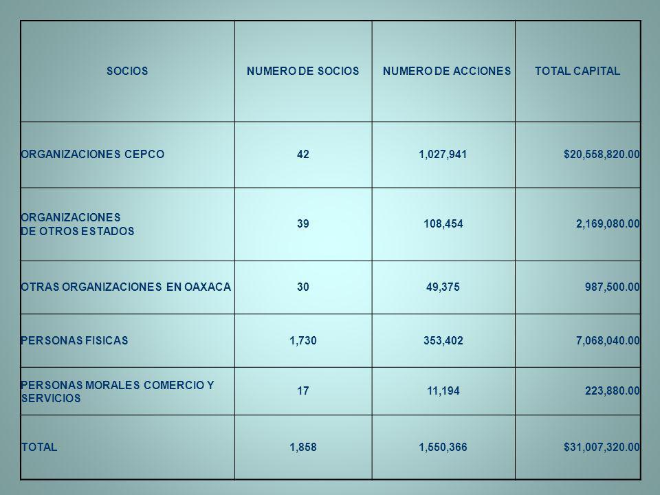 SOCIOS NUMERO DE SOCIOS. NUMERO DE ACCIONES. TOTAL CAPITAL. ORGANIZACIONES CEPCO. 42. 1,027,941.