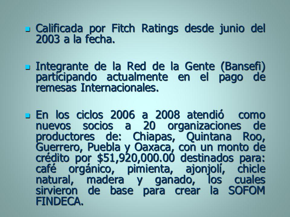 Calificada por Fitch Ratings desde junio del 2003 a la fecha.