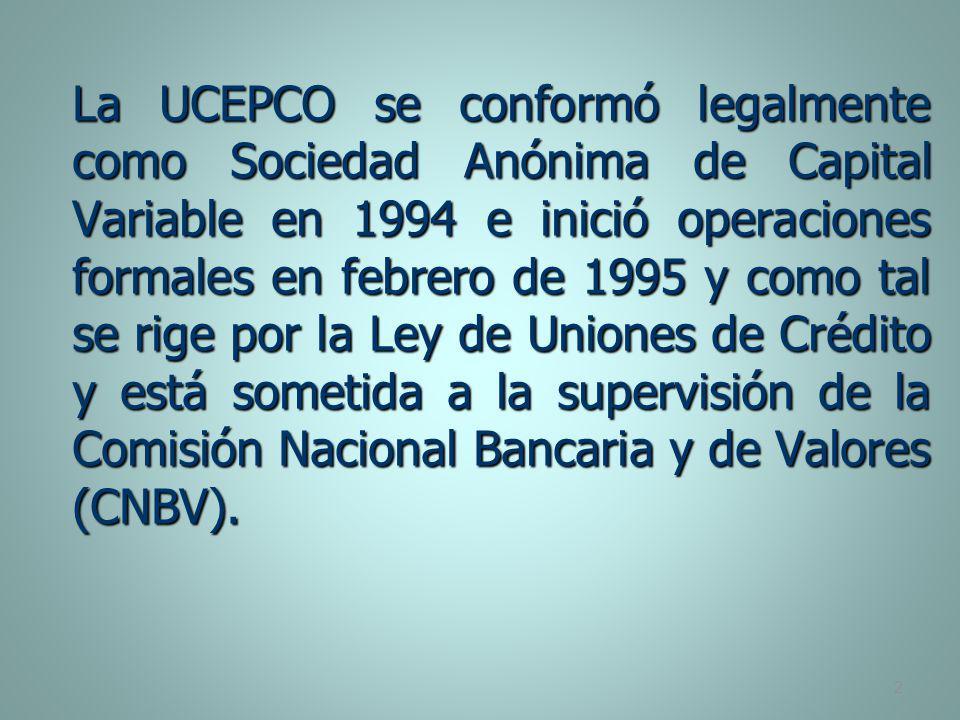 La UCEPCO se conformó legalmente como Sociedad Anónima de Capital Variable en 1994 e inició operaciones formales en febrero de 1995 y como tal se rige por la Ley de Uniones de Crédito y está sometida a la supervisión de la Comisión Nacional Bancaria y de Valores (CNBV).