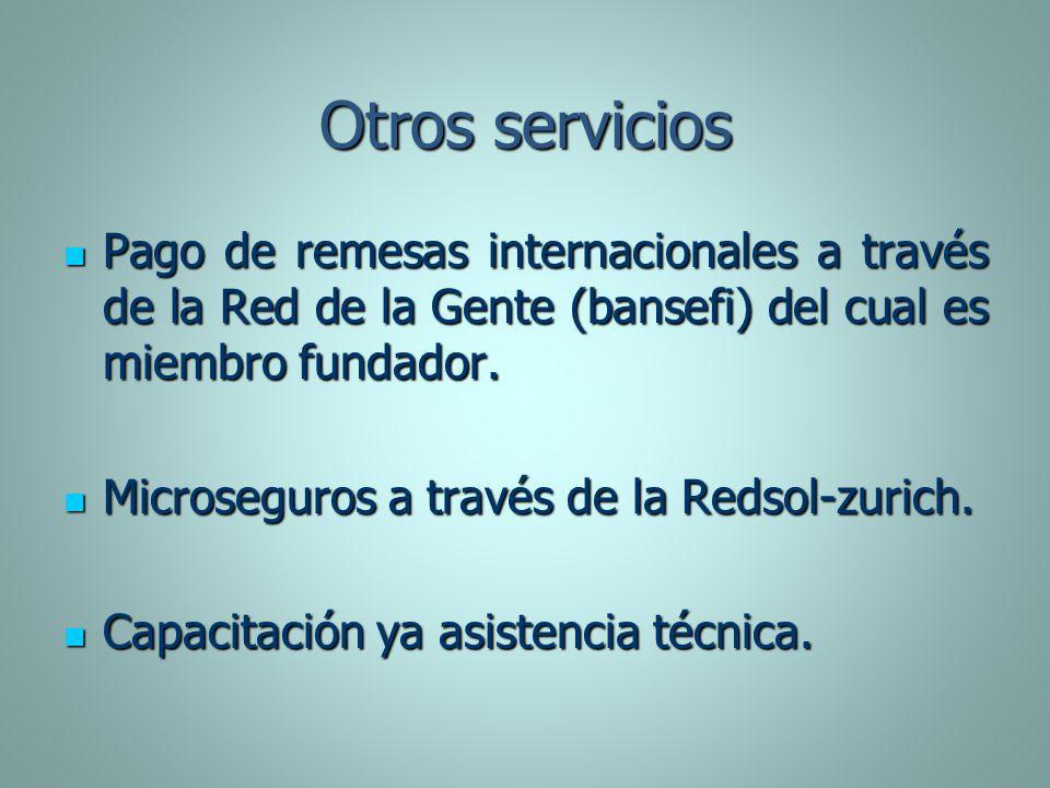 Otros servicios Pago de remesas internacionales a través de la Red de la Gente (bansefi) del cual es miembro fundador.