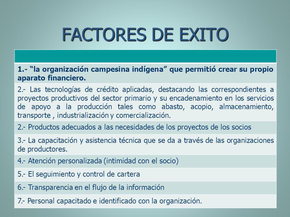 FACTORES DE EXITO 1.- la organización campesina indígena que permitió crear su propio aparato financiero.